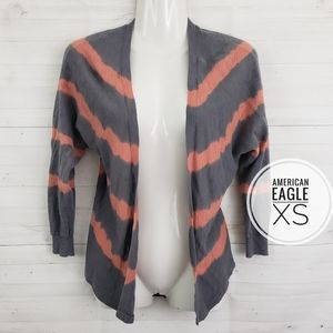 XS American Eagle Gray and Coral Cardigan Sweater